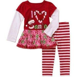 Girls Santa Christmas Shirt Leggings Pants Set